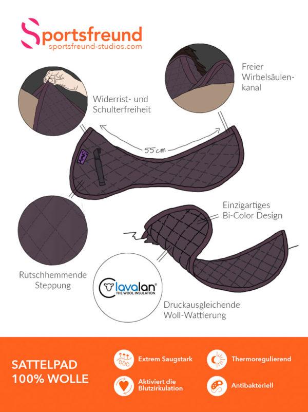 Informationsbild Sattelpad Wolle Braun